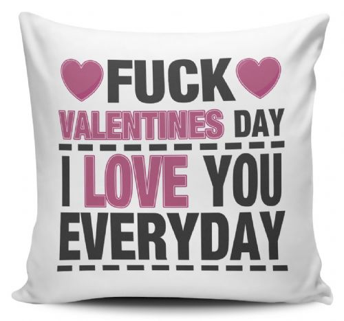 Fuck Valentines Day I Love You Everyday Funny Novelty Cushion Cover
